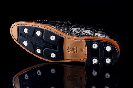 Luxury Handmade Crocodile Boat Shoes-Sole