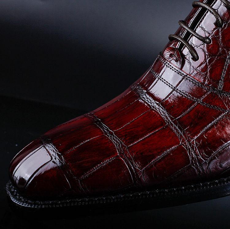 Men's Alligator Leather Plain-Toe Oxford Shoes-Details