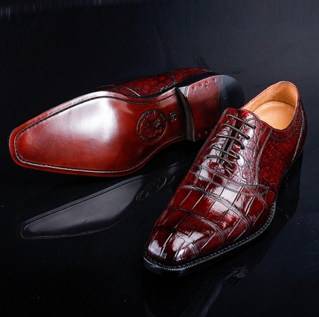 Men's Alligator Leather Plain-Toe Oxford Shoes-Exhibition