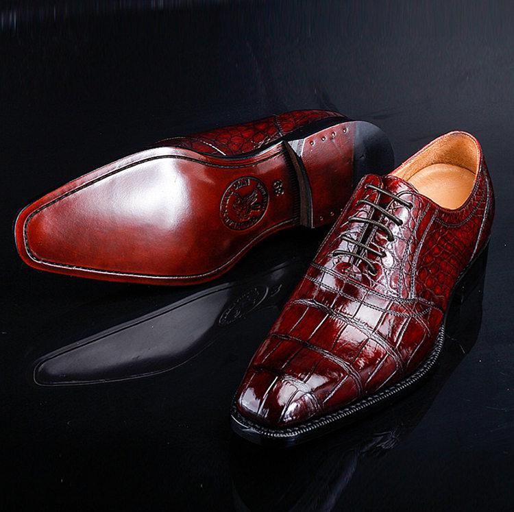 Men's Alligator Leather Plain-Toe Oxford Shoes-Exhibition