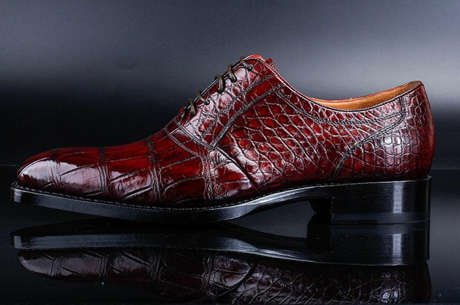 Men's Alligator Leather Plain-Toe Oxford Shoes-Side