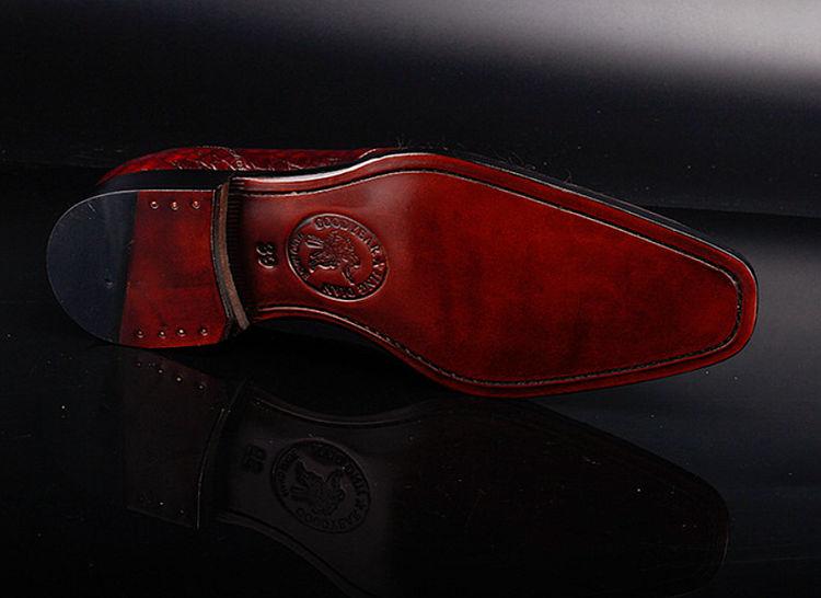 Men's Alligator Leather Plain-Toe Oxford Shoes-Sole