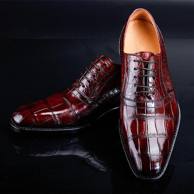 Men's Alligator Leather Plain-Toe Oxford Shoes