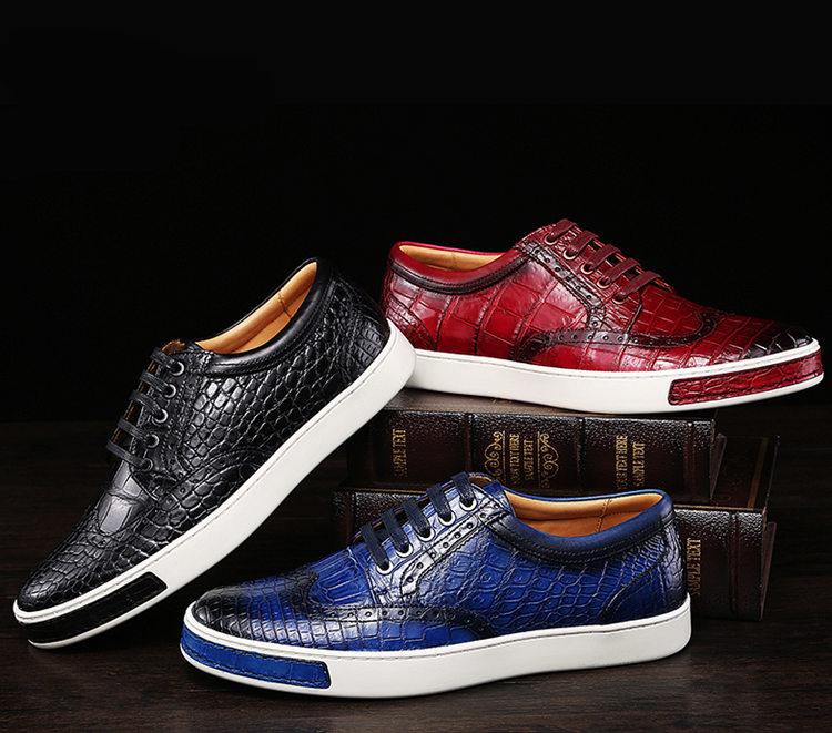 Mens Fashion Alligator Oxford Sneakers-1