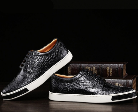 Mens Fashion Alligator Oxford Sneakers-Black-Exhibition