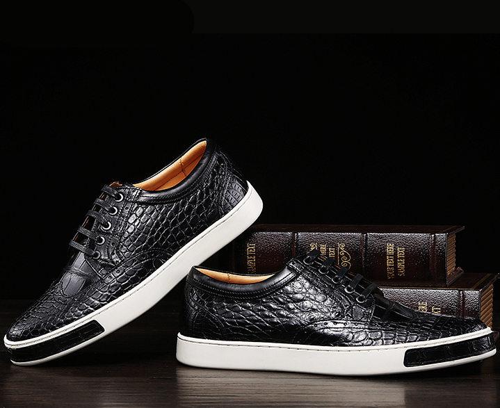 Mens Fashion Alligator Oxford Sneakers-Black-Exhibition