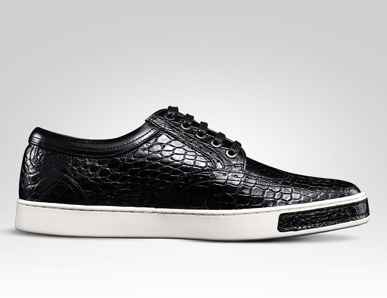 Mens Fashion Alligator Oxford Sneakers-Black-Side