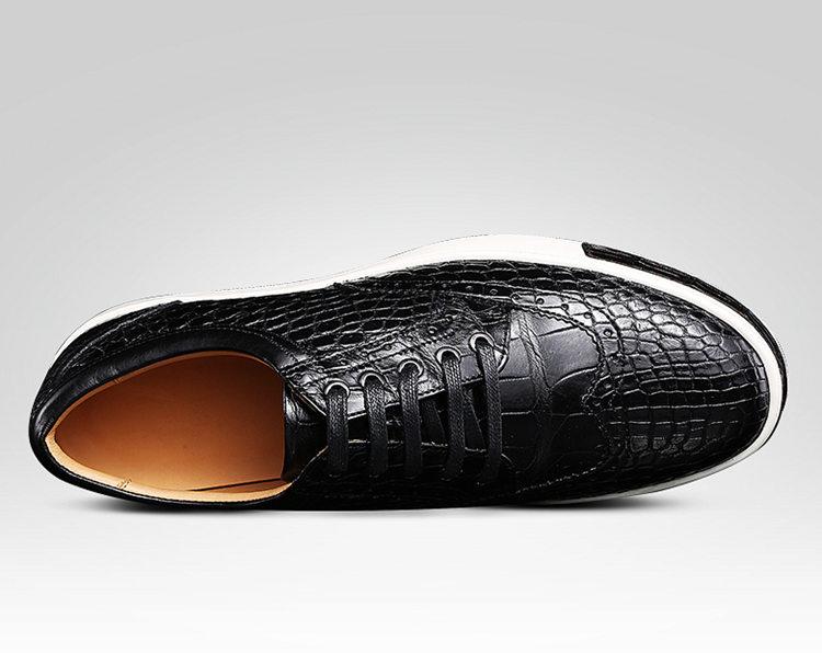 Mens Fashion Alligator Oxford Sneakers-Black-Upper