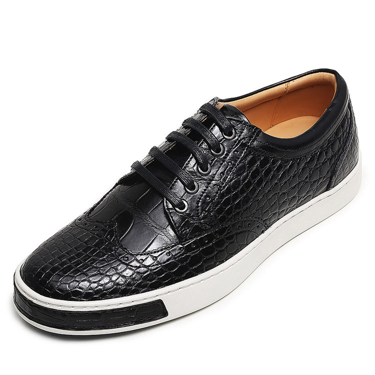 Mens Fashion Alligator Oxford Sneakers-Black