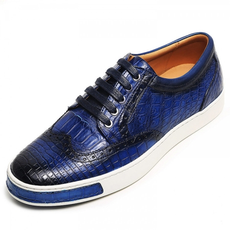 Mens Fashion Alligator Oxford Sneakers-Blue