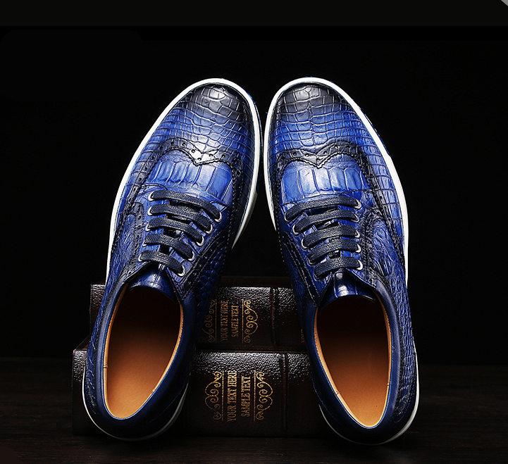 Mens Fashion Alligator Oxford Sneakers-Blue-Exhibition