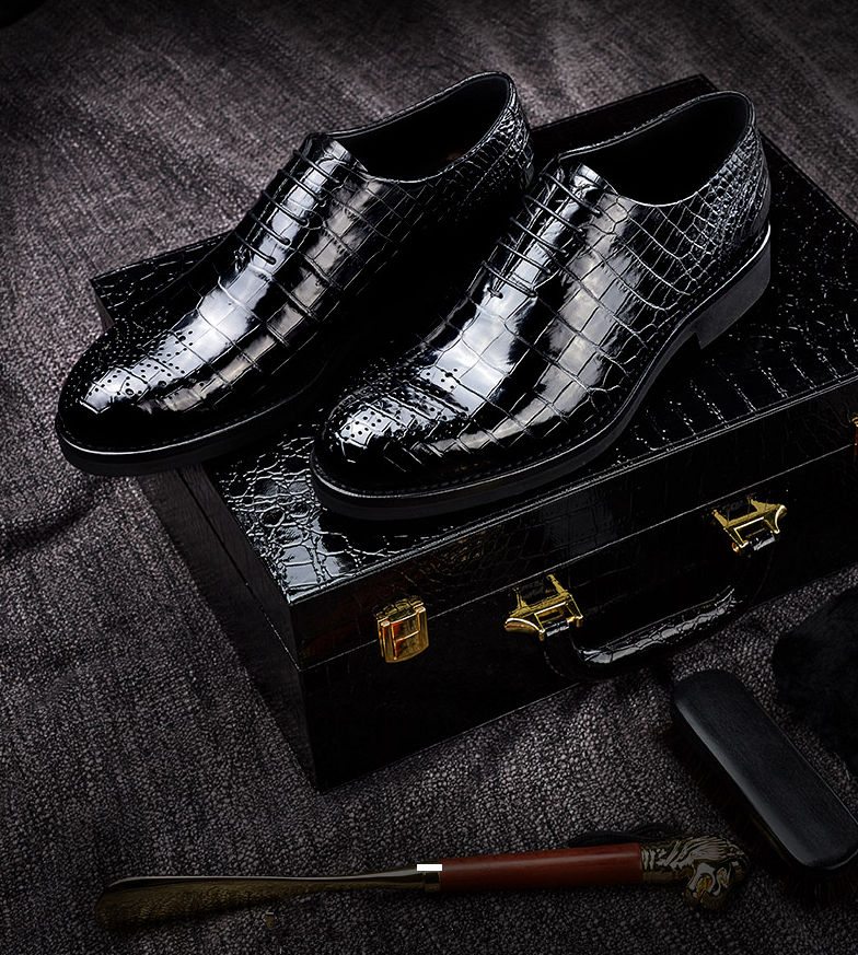 Mens Genuine Alligator Leather Formal Dress Party Wedding Office Oxford-Gift Box-Packaging Details