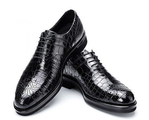 Men's Genuine Alligator Leather Formal Dress Party Wedding Office Oxford Shoes-2
