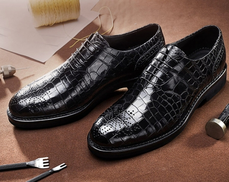 Men's Genuine Alligator Leather Formal Dress Party Wedding Office Oxford Shoes-Exhibition