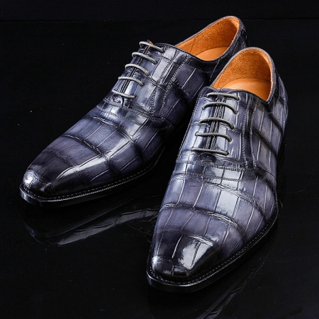 Navy Blue Handmade Alligator Skin Shoes-1