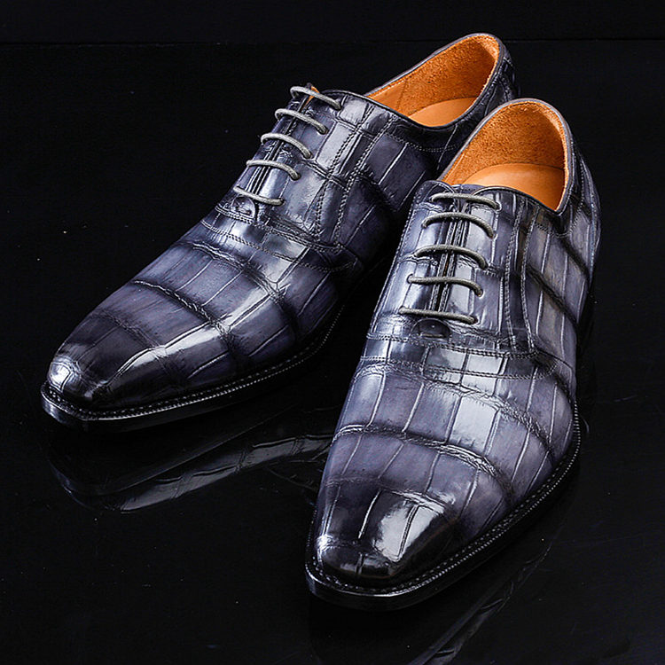 Navy Blue Handmade Alligator Skin Shoes-1