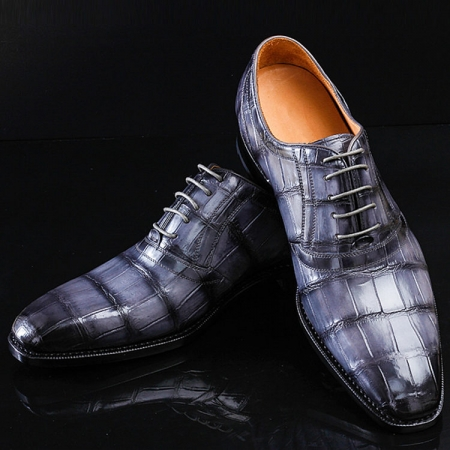 Navy Blue Handmade Alligator Skin Shoes