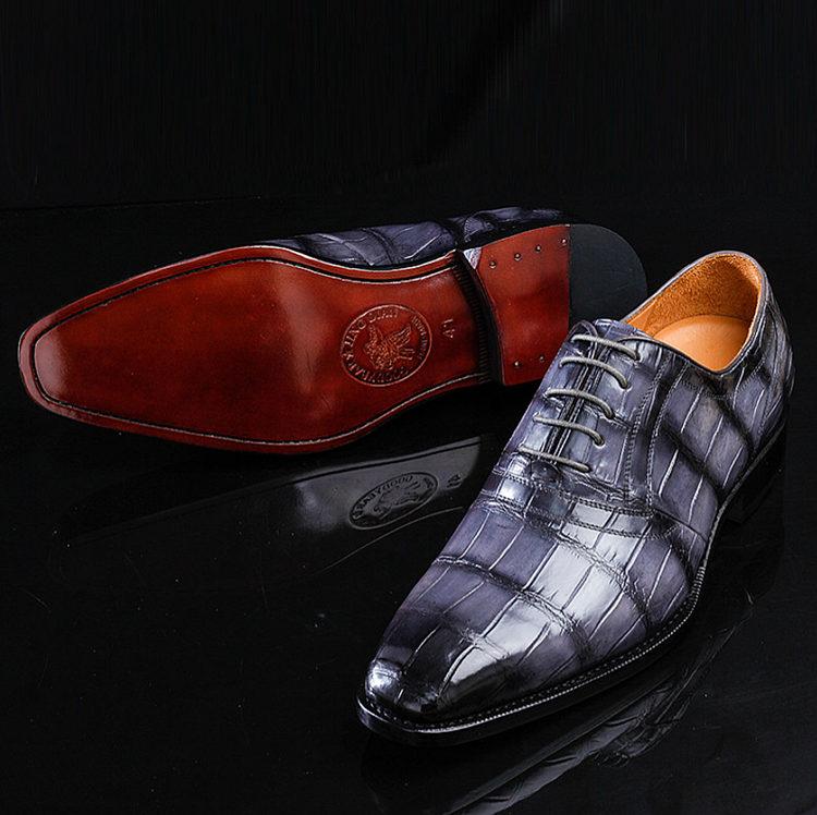 Navy Blue Handmade Alligator Skin Shoes-Exhibition
