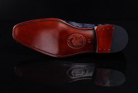 Navy Blue Handmade Alligator Skin Shoes-Sole