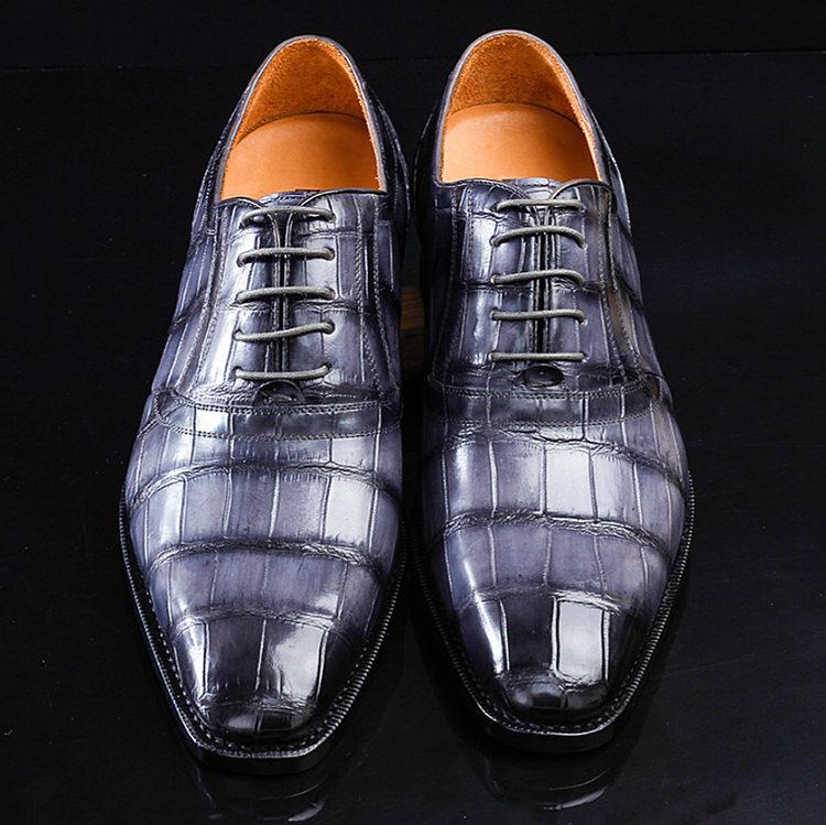 Navy Blue Handmade Alligator Skin Shoes-Upper