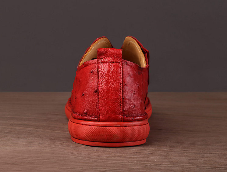 Ostrich Shoes, Genuine Ostrich Skin Shoes for Men-Red-Details