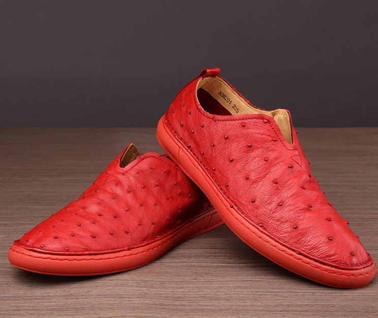 Ostrich Shoes, Genuine Ostrich Skin Shoes for Men-Red-Exhibition