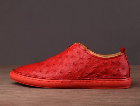 Ostrich Shoes, Genuine Ostrich Skin Shoes for Men-Red-Side