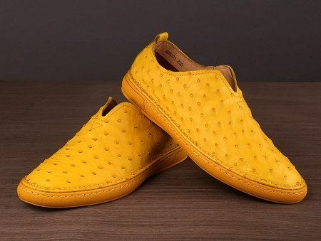 Ostrich Shoes, Genuine Ostrich Skin Shoes for Men-Yellow-Exhibition
