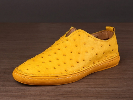 Ostrich Shoes, Genuine Ostrich Skin Shoes for Men-Yellow-Side
