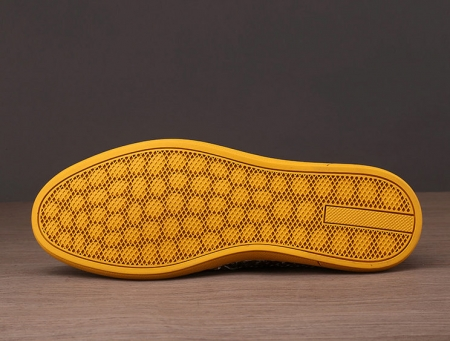 Ostrich Shoes, Genuine Ostrich Skin Shoes for Men-Yellow-Sole