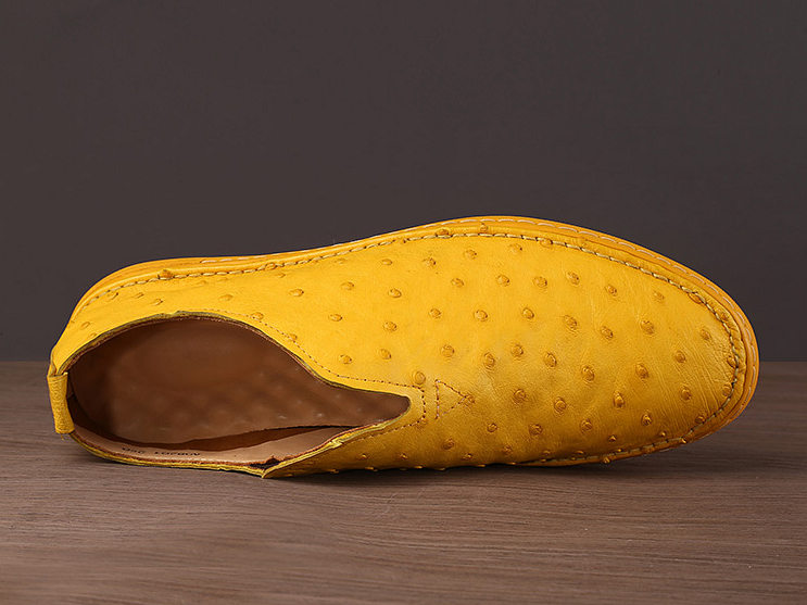 Ostrich Shoes, Genuine Ostrich Skin Shoes for Men-Yellow-Upper