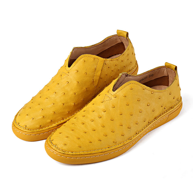 Ostrich Shoes, Genuine Ostrich Skin Shoes for Men-Yellow