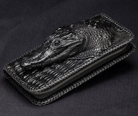 Personalized Crocodile Wallet, Handmade Crocodile Wallet for Men-1