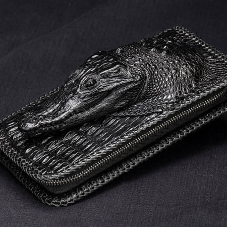 Personalized Crocodile Wallet, Handmade Crocodile Wallet for Men-1