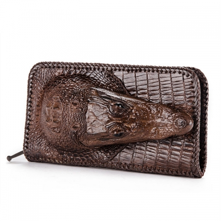 Personalized Crocodile Wallet, Handmade Crocodile Wallet for Men-Brown