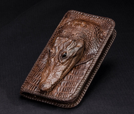 Personalized Crocodile Wallet, Handmade Crocodile Wallet for Men-Brown-Front