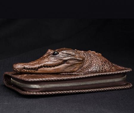 Personalized Crocodile Wallet, Handmade Crocodile Wallet for Men-Brown-Side