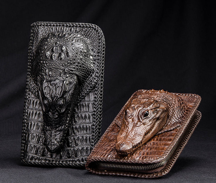 Personalized Crocodile Wallet, Handmade Crocodile Wallet for Men-Exhibition