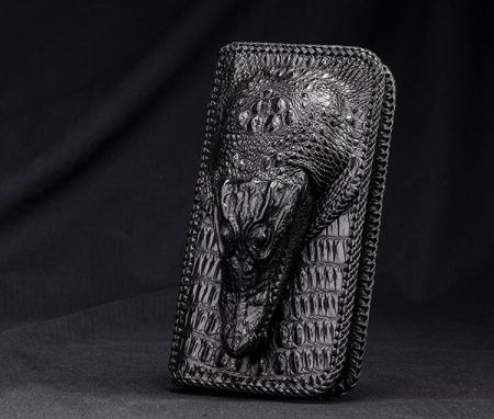 Personalized Crocodile Wallet, Handmade Crocodile Wallet for Men-Front
