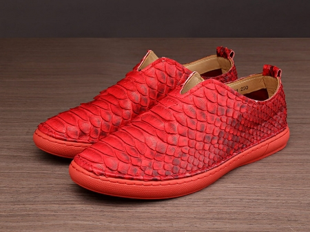 Snakeskin Shoes, Python Shoes for Men - Red-1