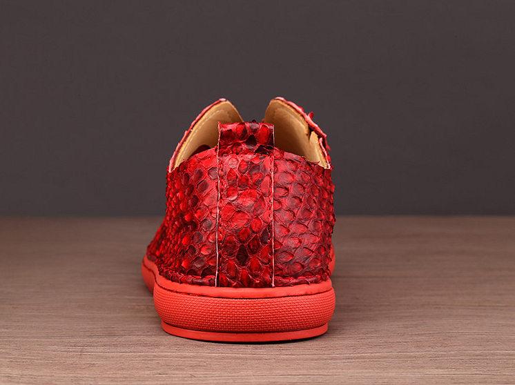 Snakeskin Shoes, Python Shoes for Men - Red-Details