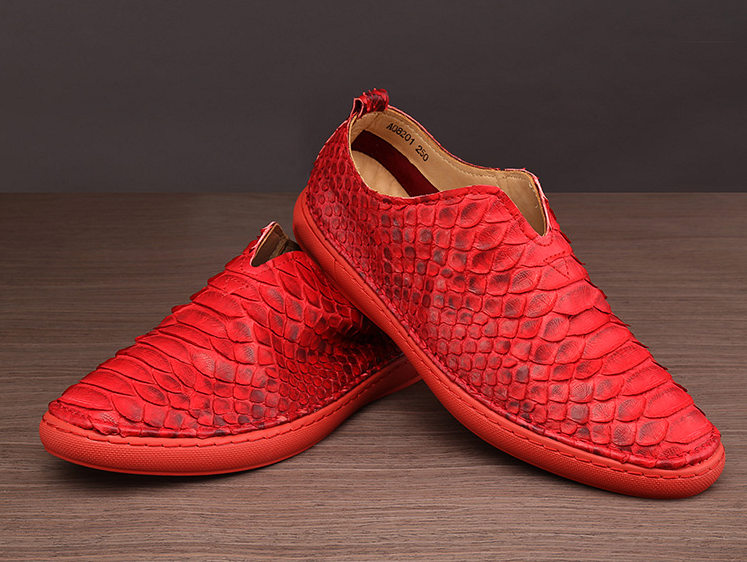 Snakeskin Shoes, Python Shoes for Men - Red-Exhibition