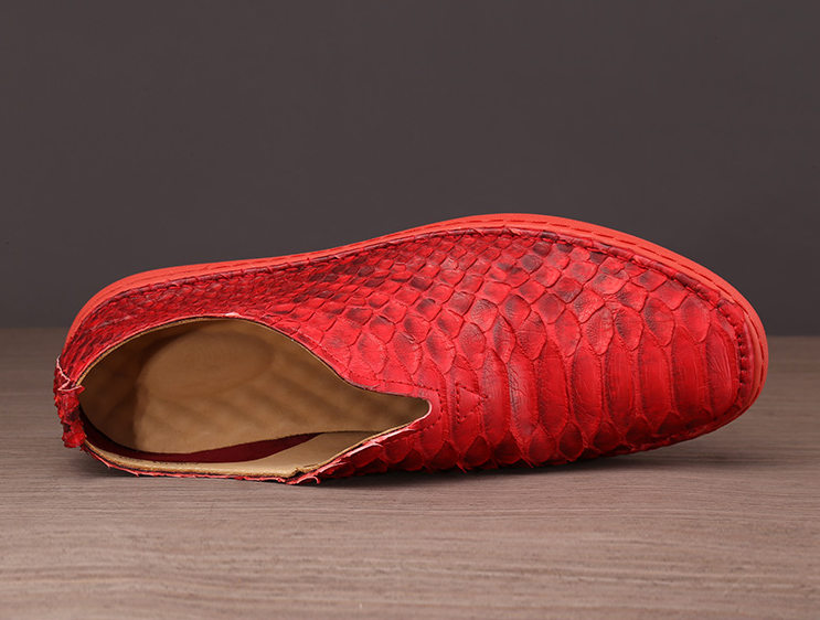 Snakeskin Shoes, Python Shoes for Men - Red-Upper