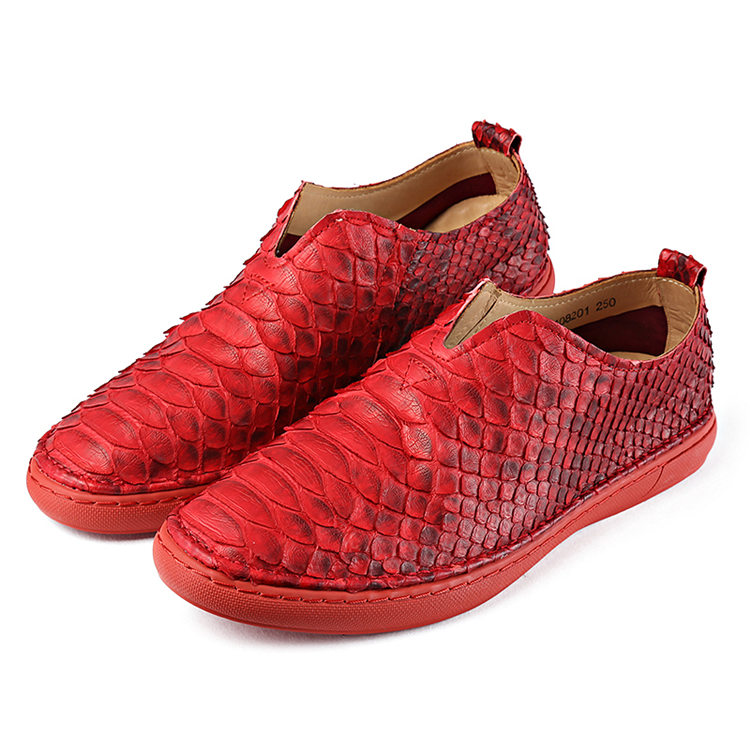 Snakeskin Shoes, Python Shoes for Men - Red
