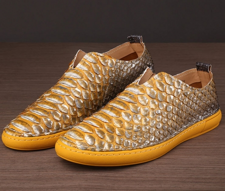 Snakeskin Shoes, Python Shoes for Men-Yellow-1