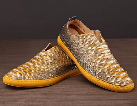 Snakeskin Shoes, Python Shoes for Men-Yellow-Exhibition