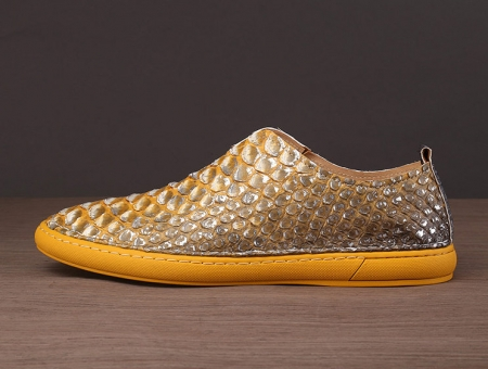 Snakeskin Shoes, Python Shoes for Men-Yellow-Side