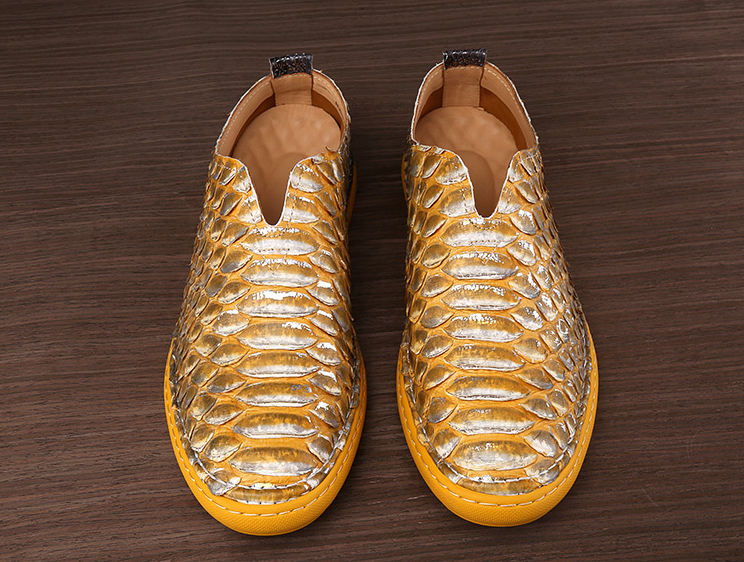 Snakeskin Shoes, Python Shoes for Men-Yellow-Upper
