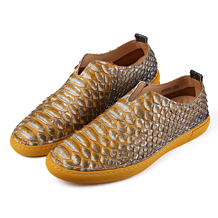 Snakeskin Shoes, Python Shoes for Men-Yellow