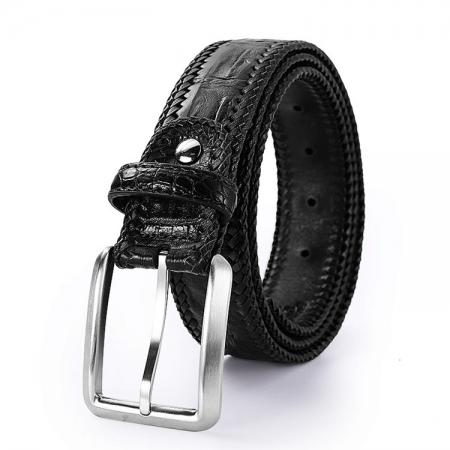 Stylish Genuine Alligator Belt Handmade Alligator Belt for Men-Black